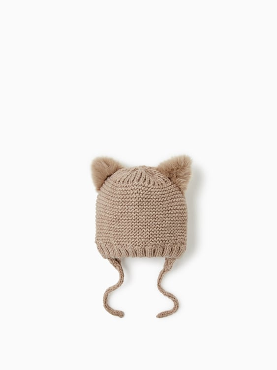 Furry Ear Cable  Knit Hat View All Accessories Baby Boy by Zara