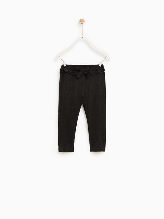 d033737aa9de4 RIBBED LEGGINGS WITH BOW - PANTS | SKIRTS-BABY GIRL | 3 months - 4 ...