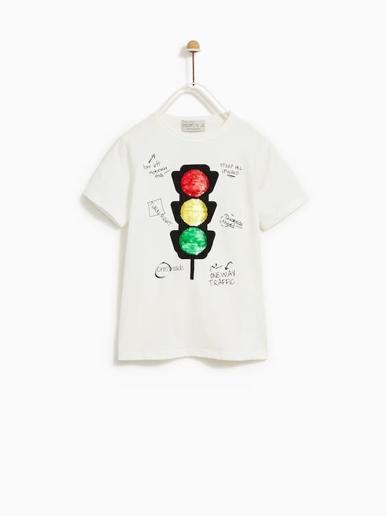 T  Shirt With Sequin Traffic Light View All T Shirts Boy by Zara