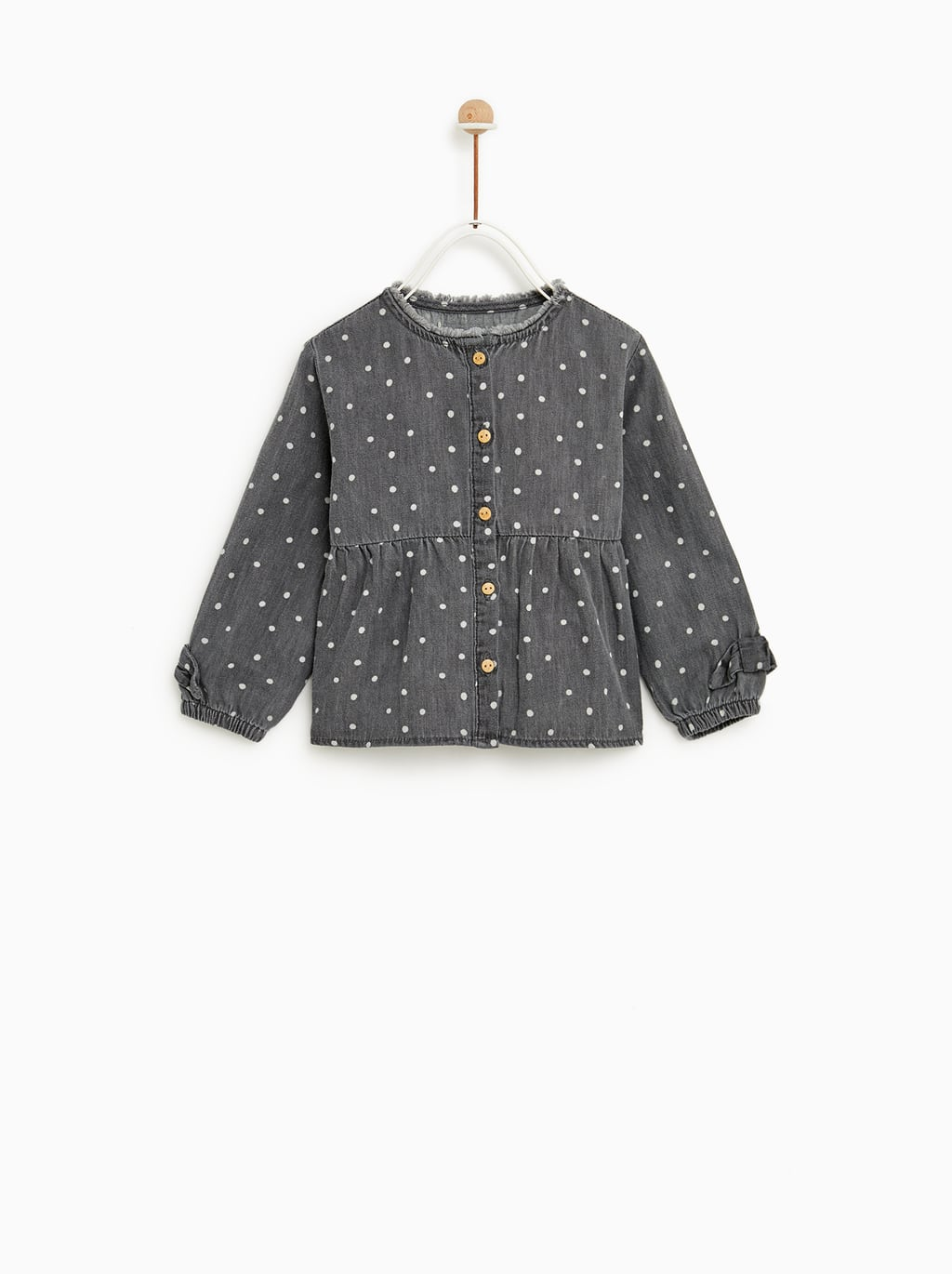 Image 1 of POLKA DOT DENIM SHIRT from Zara