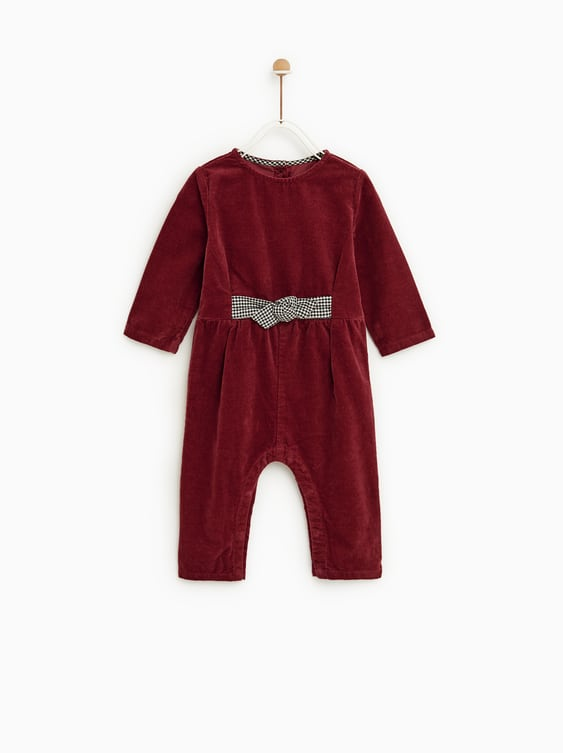 Corduroy Jumpsuit With Bows  Toddlerbaby Girl by Zara