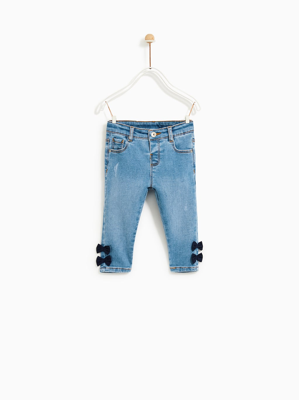 Image 1 of SLIM FIT JEANS WITH BOWS from Zara
