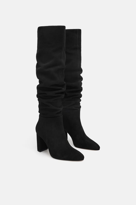 High  Heel Leather Bootswoman Shoes New Collection by Zara