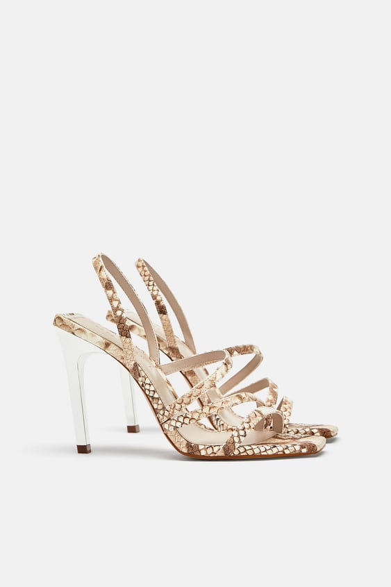 Snake Print Leather Sandals View All Shoes Woman Sale Zara