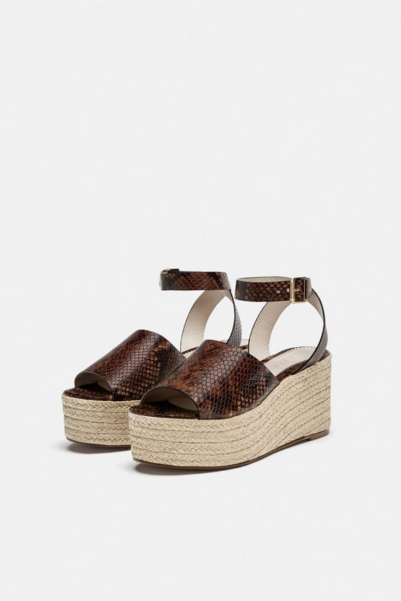 Embossed Leather Wedges  View All Shoes Woman Sale by Zara