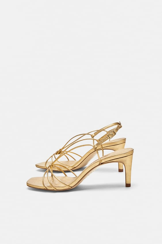 Leather Strappy High Heel Sandals Leather Shoes Woman Sale Zara