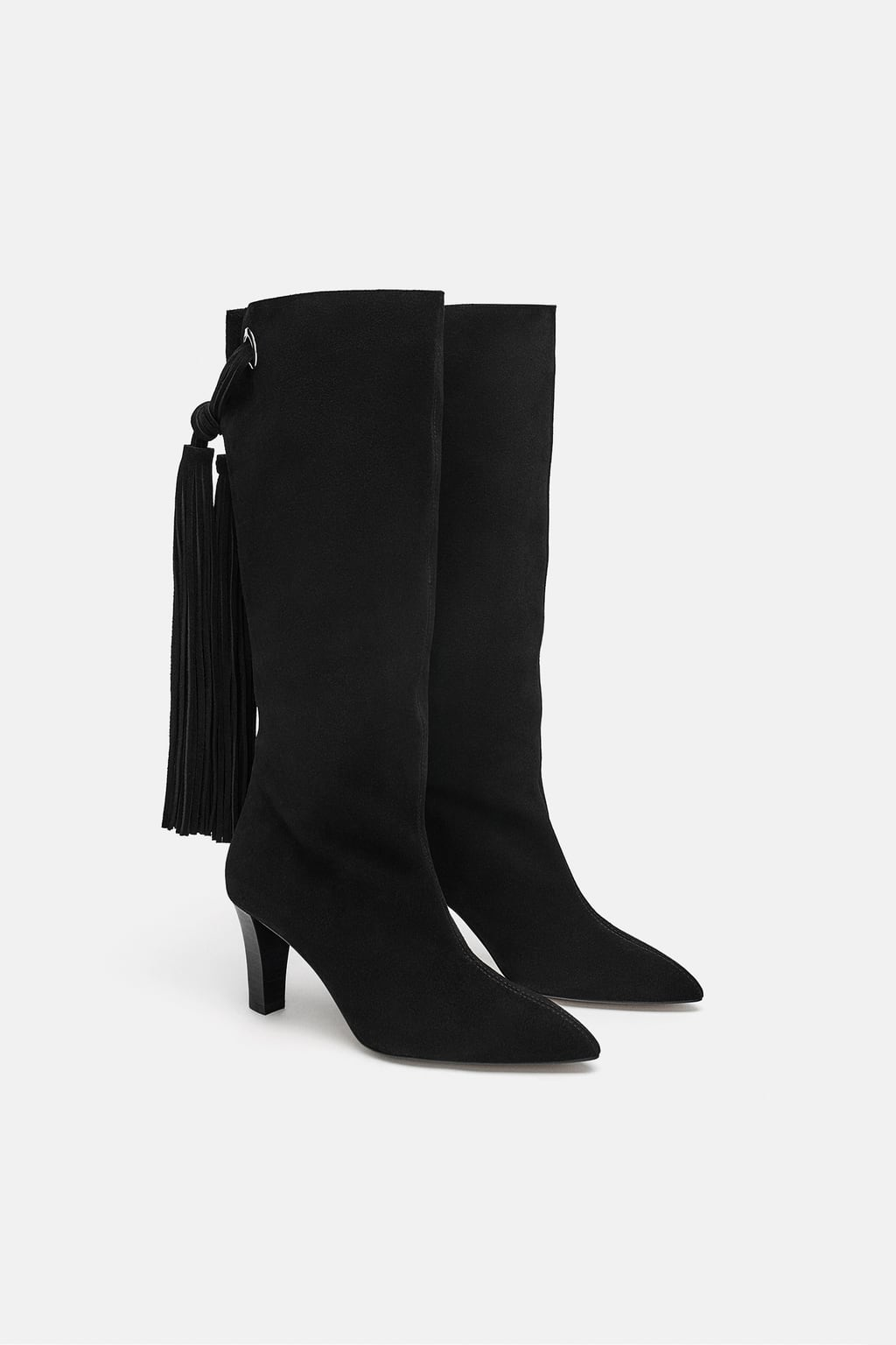 Image 1 of FRINGED LEATHER HEELED BOOTS from Zara