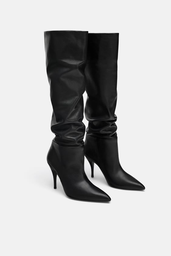 Soft Leather High Heel Boots Leather Shoes Woman Sale Zara