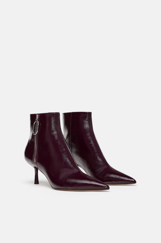 Patent Finish Heeled Ankle Boots  Booties Woman Shoes by Zara