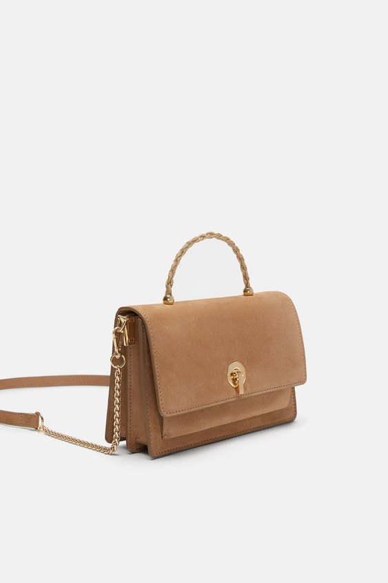 Leather Cross Body Bag With Handle Detail Bagswoman New Collection by Zara