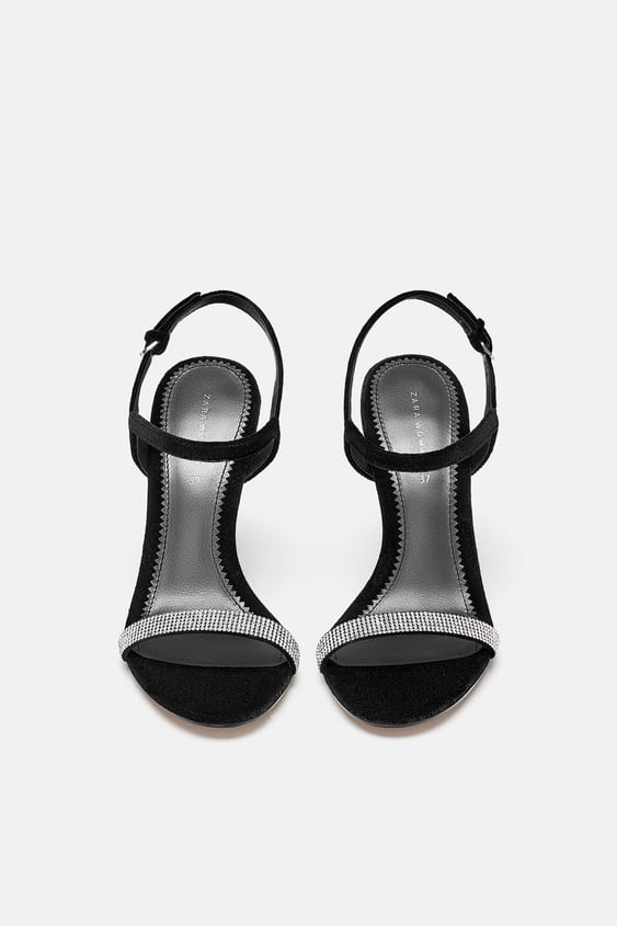 Bejewelled Velvet Sandals  Sandals Shoes Woman Sale by Zara