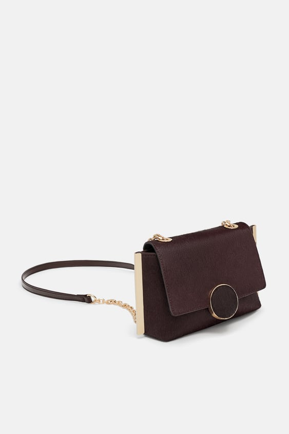 Image 1 Of Leather Crossbody Bag With Flap From Zara