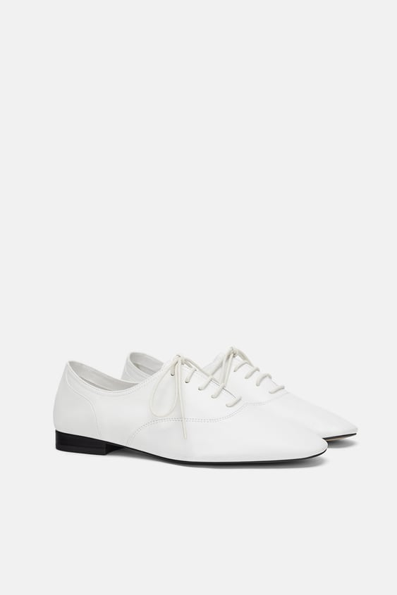 White Leather Oxfords  Womanshoes by Zara