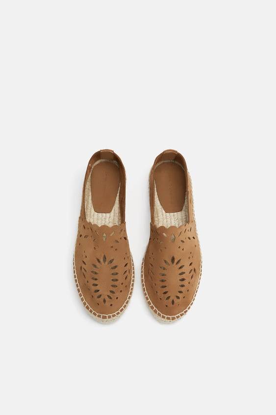 Die  Cut Leather Espadrilles Flats Shoes Woman by Zara