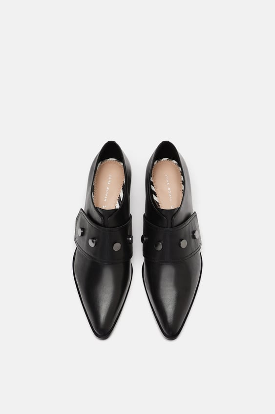 Leather Pointed Monk Strap Shoes  Flats Woman by Zara