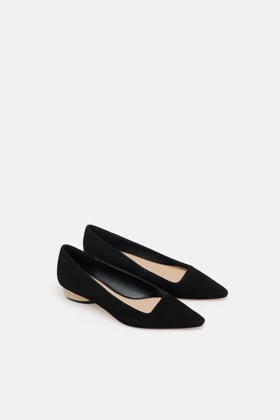 Leather Ballet Flats With Wood  Look Heel View All Shoes Woman by Zara