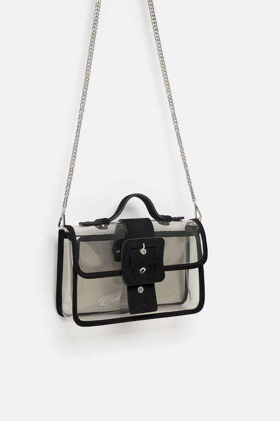 Image 3 Of Vinyl And Leather Crossbody Bag From Zara
