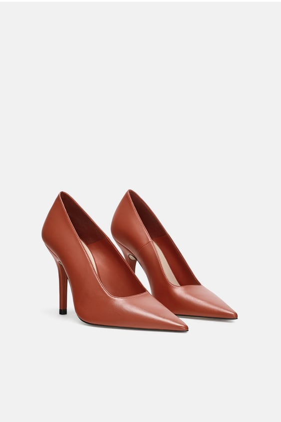 Leather High Heel Court Shoes High Heels Shoes Woman Zara Italy