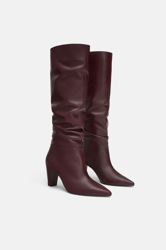 Tall Leather Boots  Boots Shoes Woman Sale by Zara