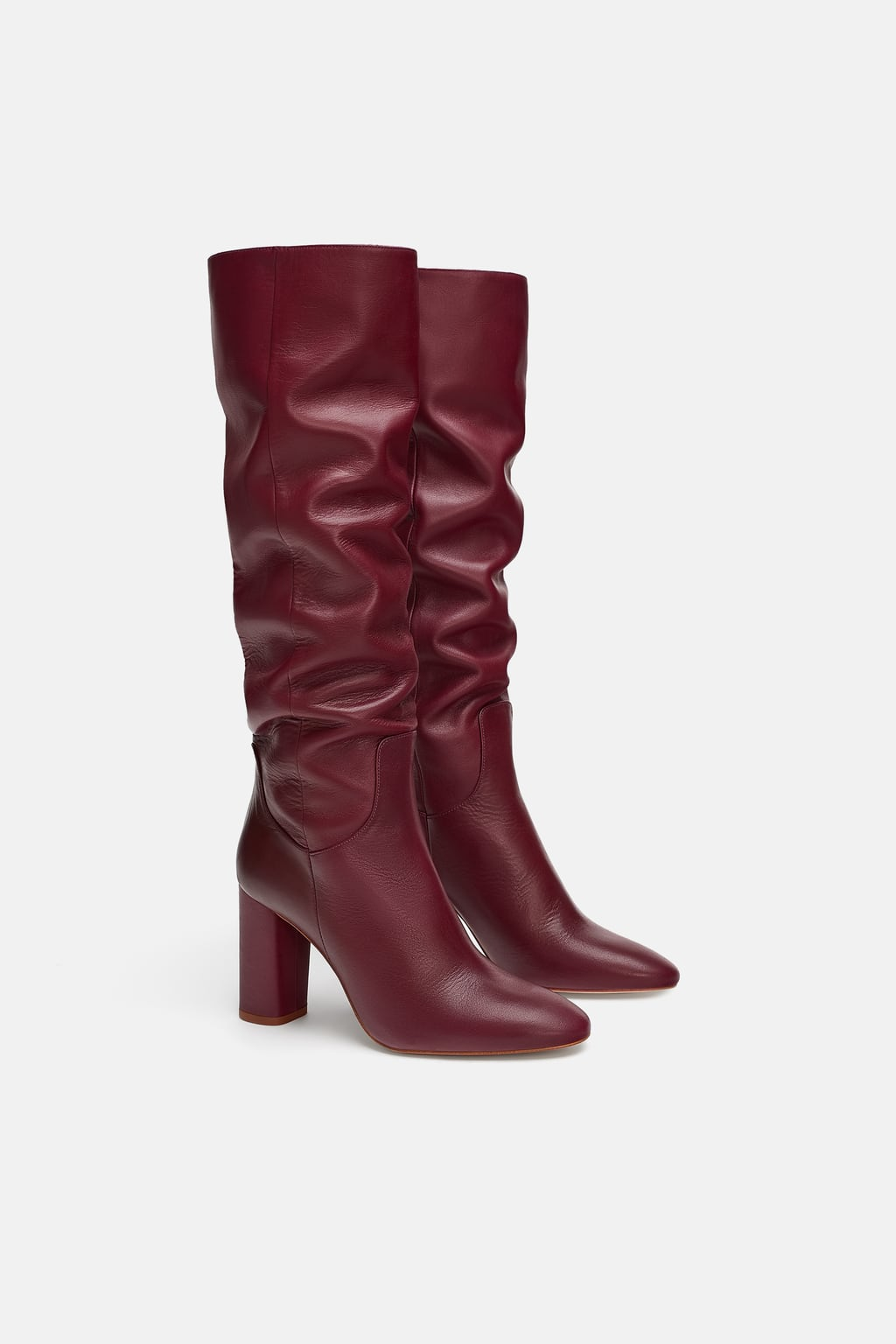 Image 3 of HIGH-HEEL LEATHER BOOTS from Zara