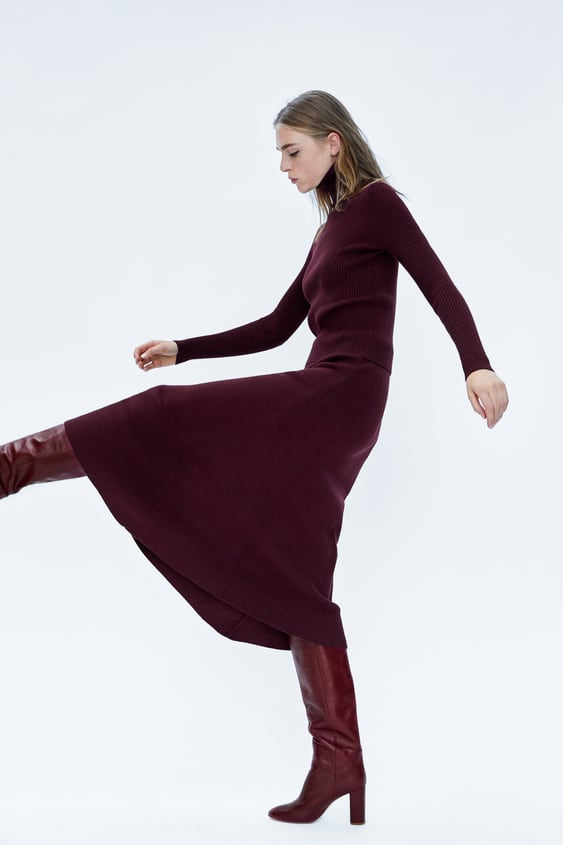 High  Heel Leather Boots Minimal Collection Knitwear Woman by Zara