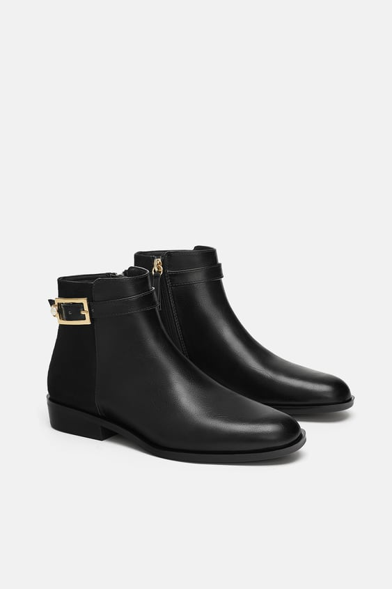 Flat Ankle Boots With Pearl Bead Buckle  View All Woman Shoes by Zara