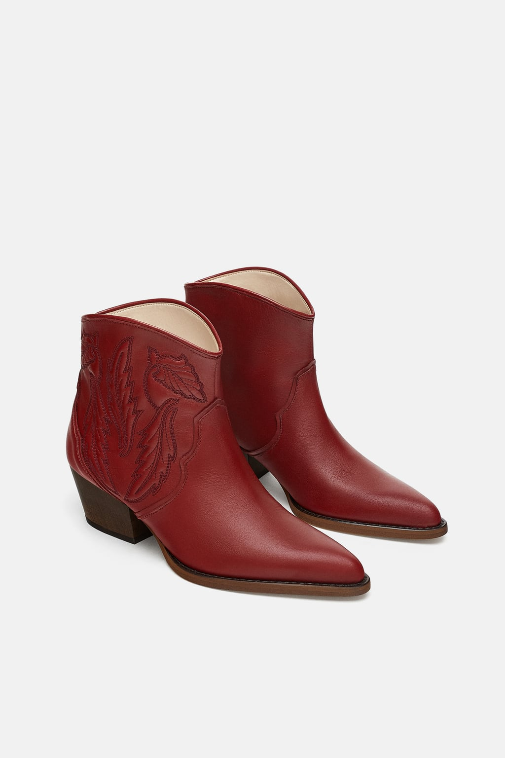 Image 1 of EMBROIDERED LEATHER COWBOY ANKLE BOOTS from Zara
