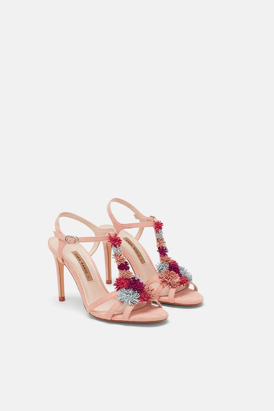 High Heel Sandals With Floral Details View All Shoes Woman Sale