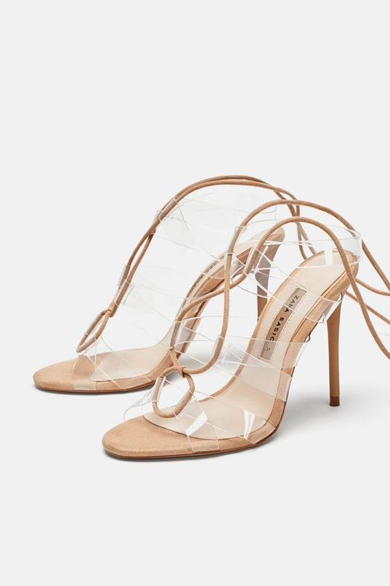 Vinyl High Heel Sandals With Ties View All Shoes Woman Sale Zara