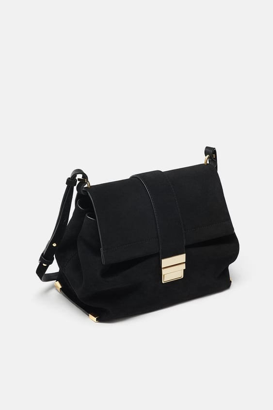 e257ff96866 Shoptagr | Split Suede City Bag With Metal Clasp Special Prices by Zara