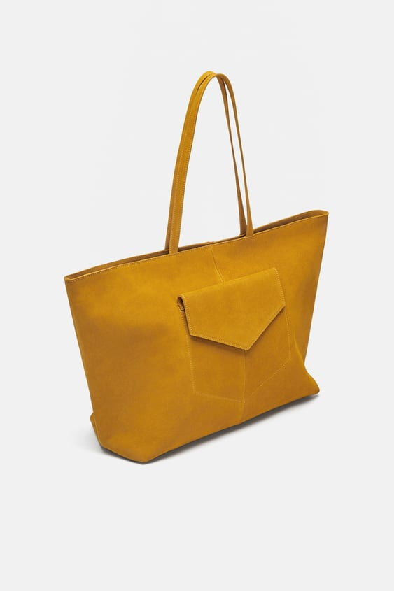 Image 1 Of Leather Tote Bag With Pocket From Zara