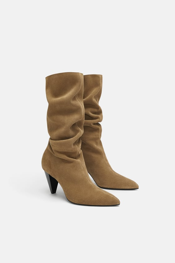 Split Suede High Heel Boots  Boots Shoes Woman by Zara
