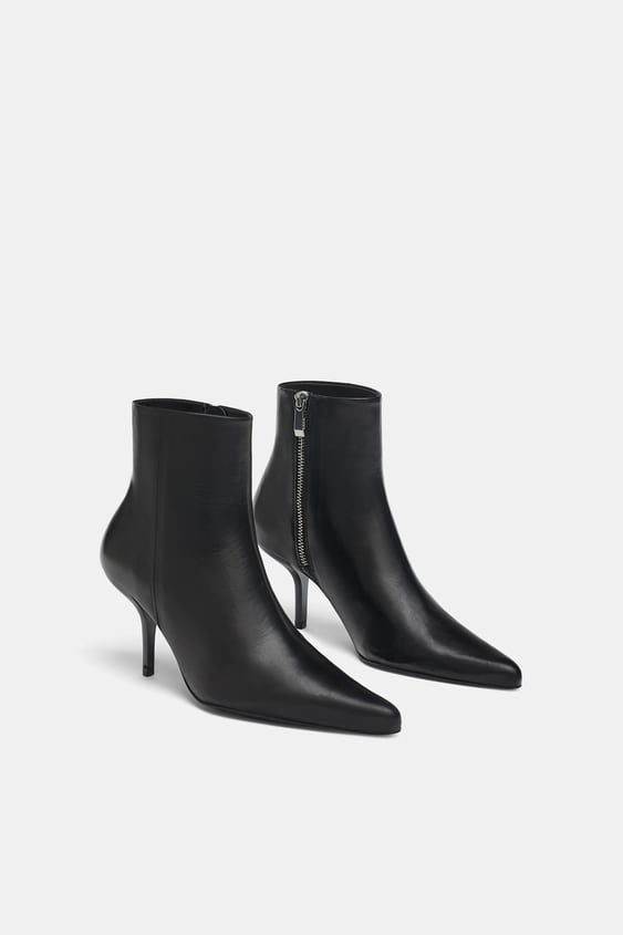 Leather Stiletto Heel Ankle Boots View All Shoes Woman Sale by Zara