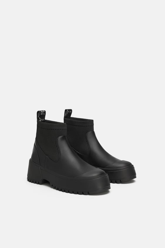 Track Sole Sock  Style Flat Ankle Boots View All Shoes Woman Sale by Zara
