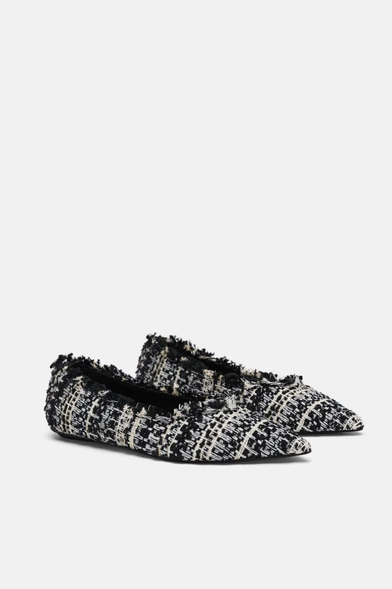 Tweed Ballet Flats  Flats Woman by Zara