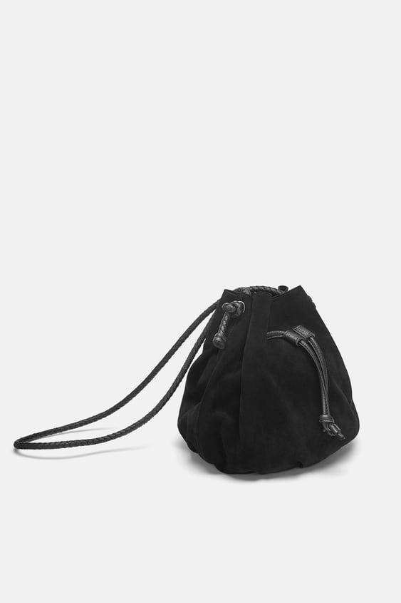 ab475bddc98 Shoptagr | Leather Bucket Bag View All Bags Woman by Zara