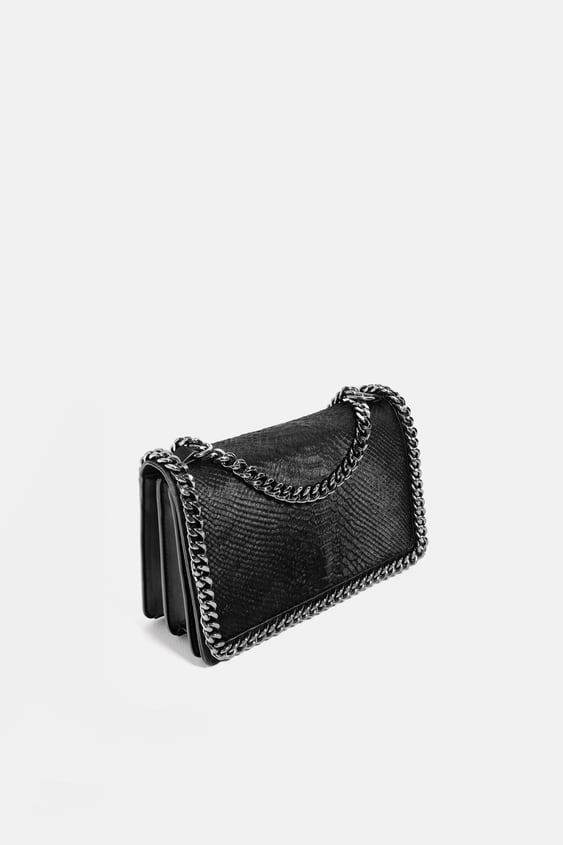 Embossed Chain Trimmed Bag Animal Print Bags Woman by Zara