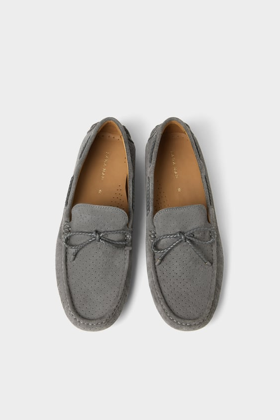 d4b009109be GREY DIE - CUT LEATHER MOCCASINS-Loafers-SHOES-MAN