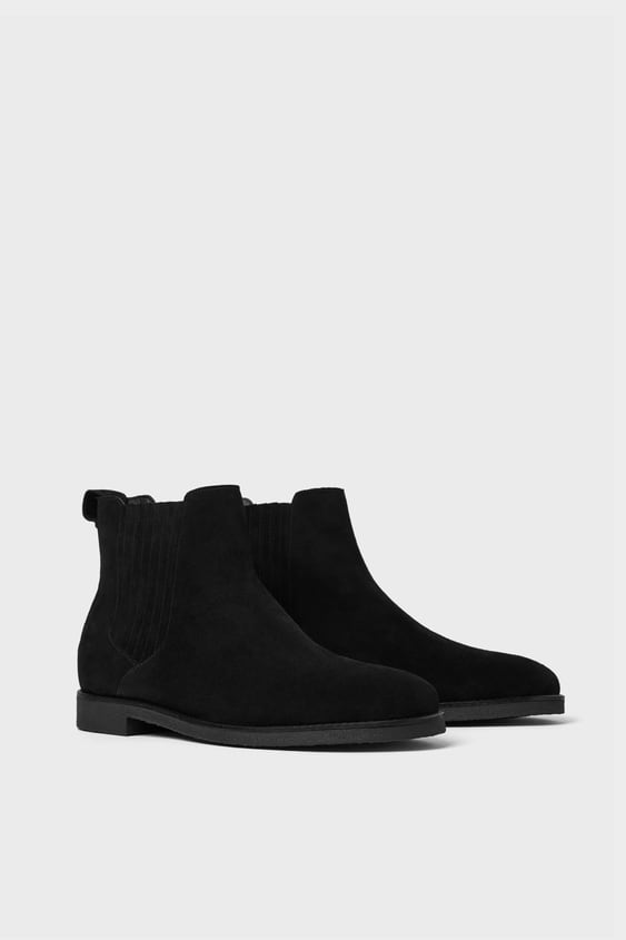 Black Sporty Leather Ankle Boots  Collection All Time Man Corner Shops by Zara