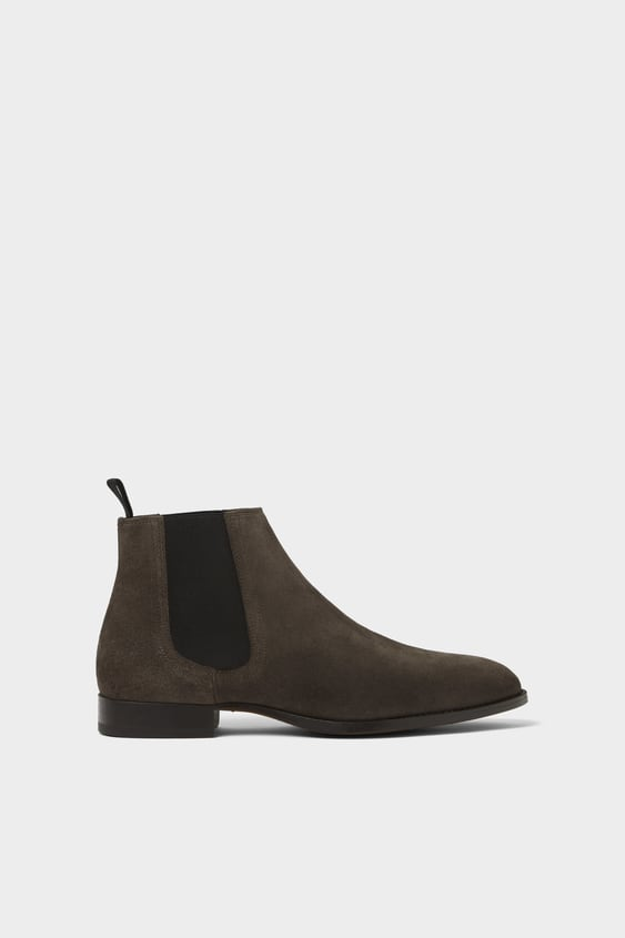 Grey Leather Ankle Boots View All Shoes Man by Zara