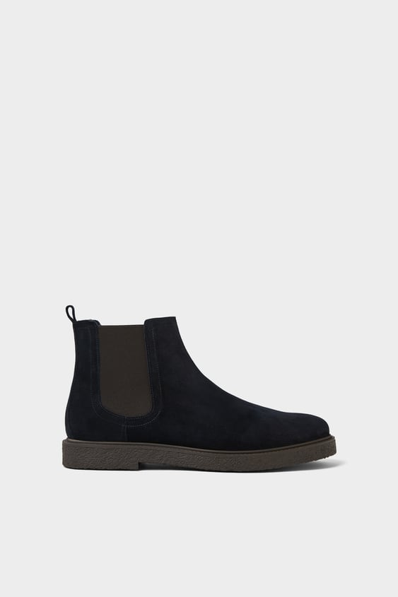 Blue Leather Athletic Ankle Boots  View All Shoes Man by Zara