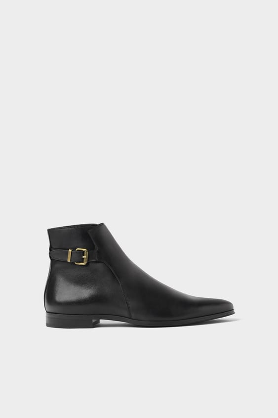 Black Leather Ankle Boots With Buckle  Partyshop By Collection Man by Zara
