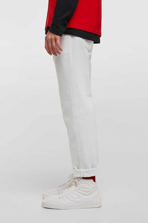 White Padded High  Top Sneakers Boots & Chelsea Boots Man Shoes by Zara