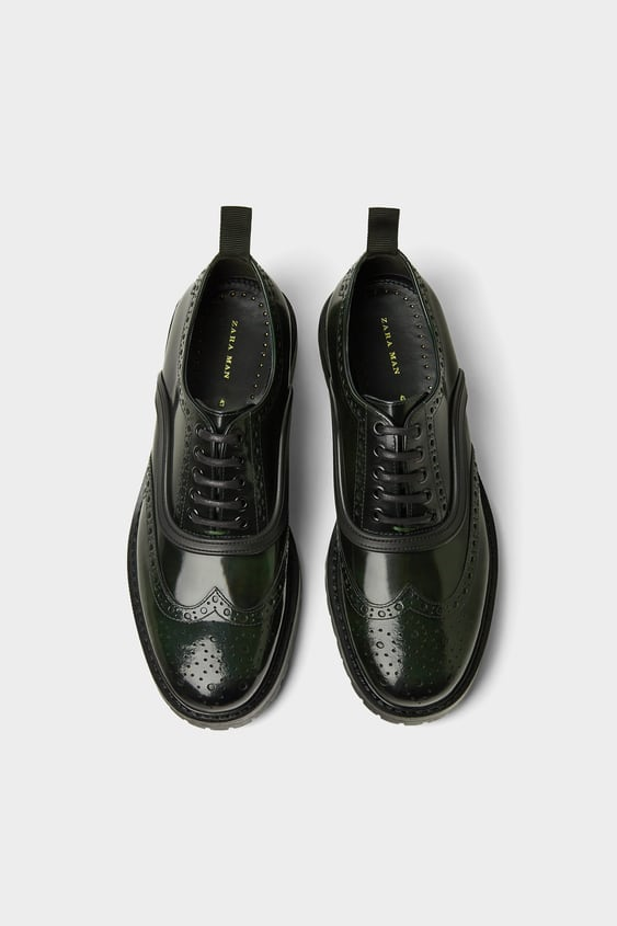 Leather Brogues  View All Shoes Man by Zara