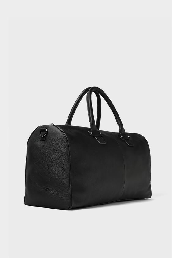Image 1 Of Black Leather Bowling Bag From Zara