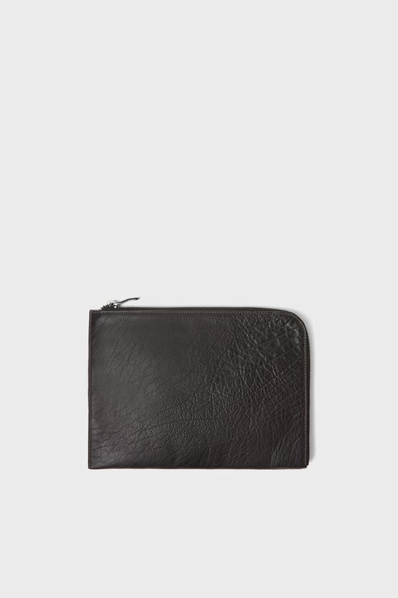 Grey Tumbled Leather Clutch  Leather Bags Man Sale by Zara