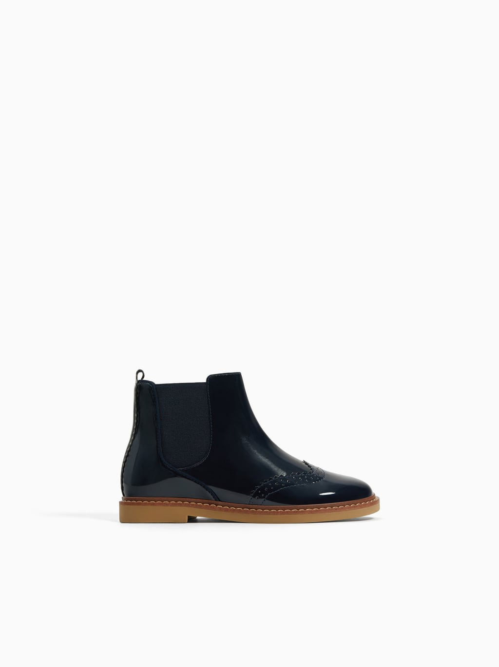 Zara PATENT FINISH WINGTIP ANKLE BOOTS $39