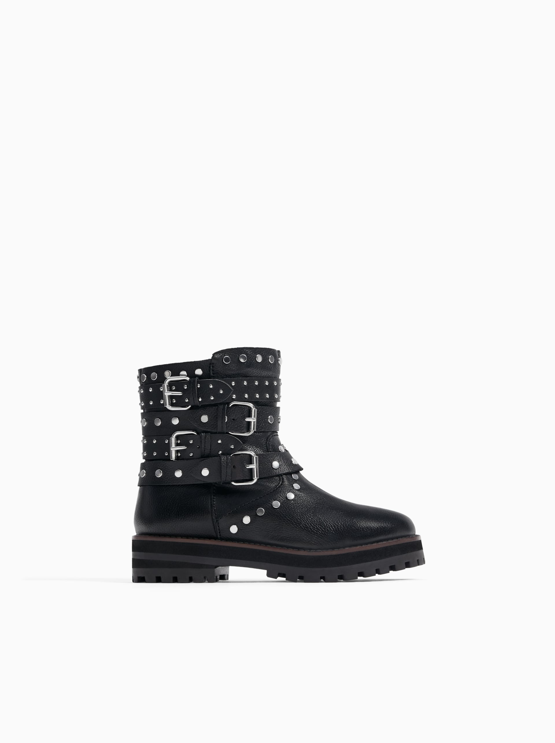 1d0d1513c60 STUDDED LEATHER BIKER ANKLE BOOTS - - | ZARA Serbia
