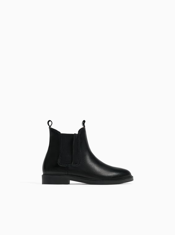 Leather Ankle Boots With Elastic Inserts  View All Shoes Girl by Zara