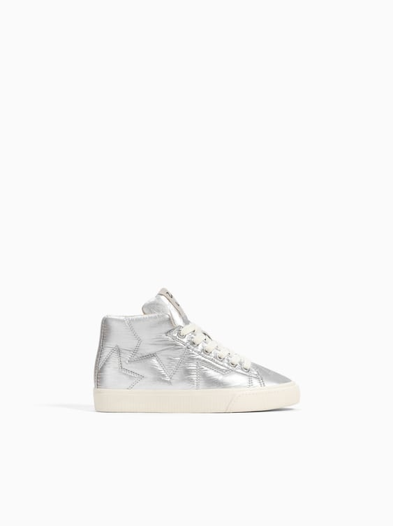 Metallic Quilted High  Top Sneakers Special Prices Shoes Girl by Zara